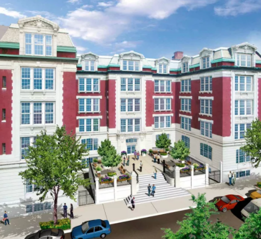 Rendering of student dorm proposal at 605 East Ninth St.