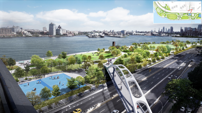 Rendering of East River Park at Delancey Street as envisioned by city planners.